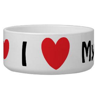 "Basset Hound Pet Bowl with I ""heart"" my Basset"