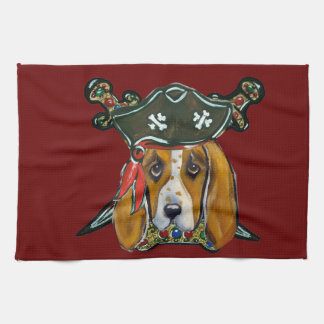 BASSET HOUND PIRATE TEA TOWEL