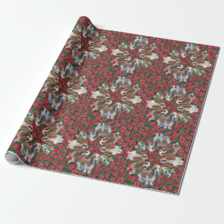 Basset Hound Poinsettias Christmas Wrapping Paper