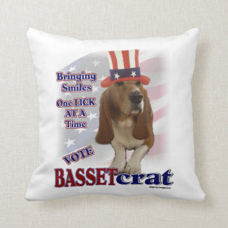 Basset Hound Political Humor Cushion