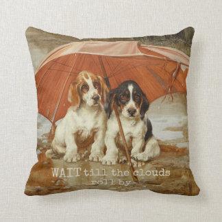 Basset hound puppies under umbrella CC0926 Trood Cushion
