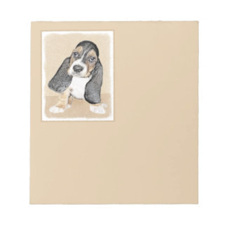 Basset Hound Puppy Painting - Original Dog Art Notepad