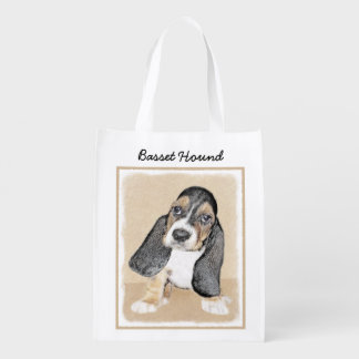Basset Hound Puppy Painting - Original Dog Art Reusable Grocery Bag