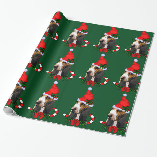 Basset Hound Santa Hat Christmas Wrapping Paper