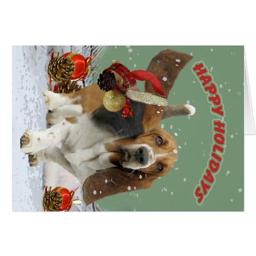 Basset Hound Season Greetings Cards
