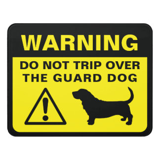 Basset Hound Silhouette Funny Guard Dog Warning Door Sign