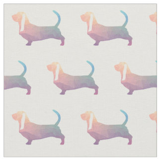 Basset Hound Silhouette Tiled Fabric