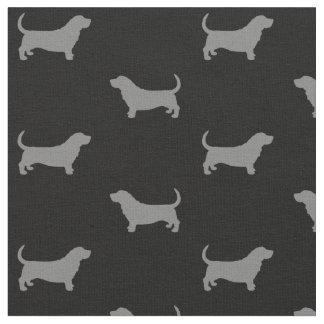 Basset Hound Silhouettes Pattern Fabric