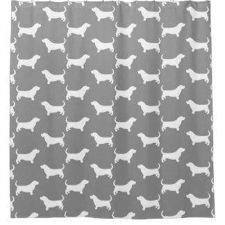 Basset Hound Silhouettes Pattern Grey Shower Curtain