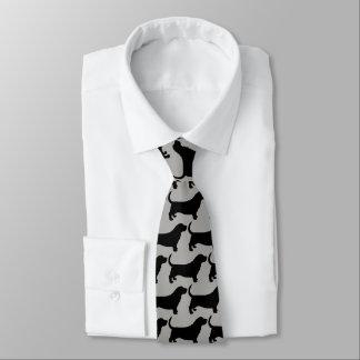 Basset Hound Silhouettes Pattern Tie