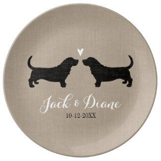 Basset Hound Silhouettes with Heart Porcelain Plates