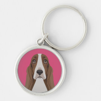 Basset Hound Silver-Colored Round Key Ring