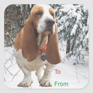 Basset Hound Snowy Christmas Gift Tag Stickers