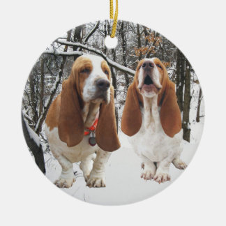 Basset Hound Snowy Woods Christmas Ornament