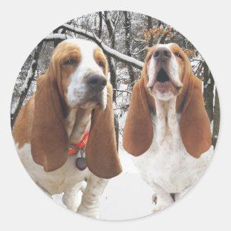 Basset Hound Snowy Woods Stickers