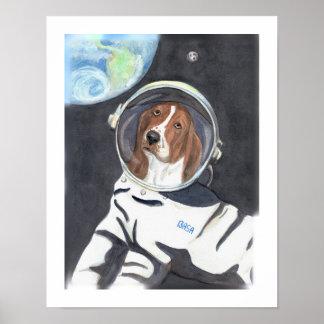 Basset Hound Space Walk Poster