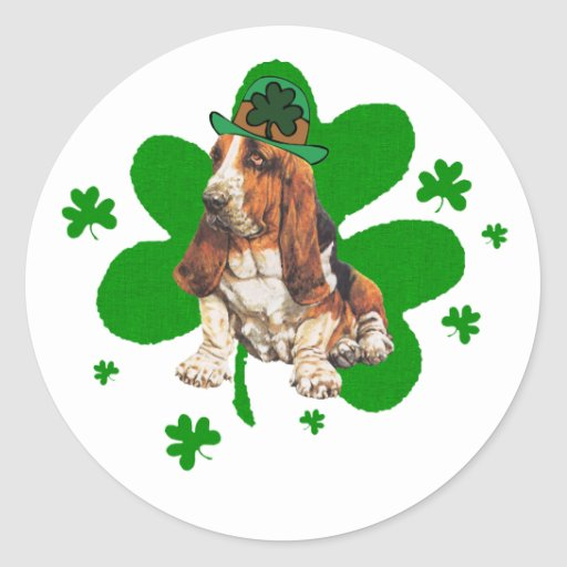 Basset Hound St. Paddys Day Round Stickers