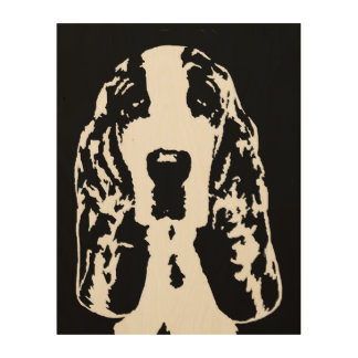 "Basset Hound Stencil Wood 11""x14"" Wall Art"