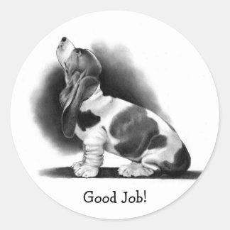 BASSET HOUND STICKER: Good Job! PENCIL ART Round Sticker