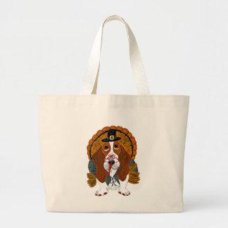 Basset Hound Thanksgiving Turkey Jumbo Tote Bag