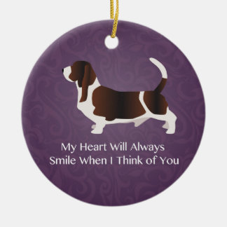 Basset Hound Thinking of You Design Ceramic Ornament