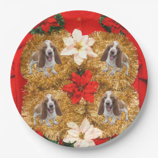 Basset Hound Ugly Christmas Sweater 9 Inch Paper Plate