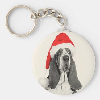 Basset Hound Vintage Style Christmas Basic Round Button Key Ring