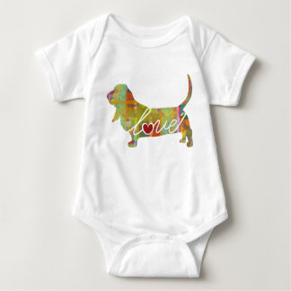 Basset Hound Watercolor Baby Bodysuit
