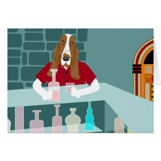 Basset Hound Whiskey Bar Card