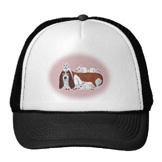Basset Hound With Bunny Friends Cap