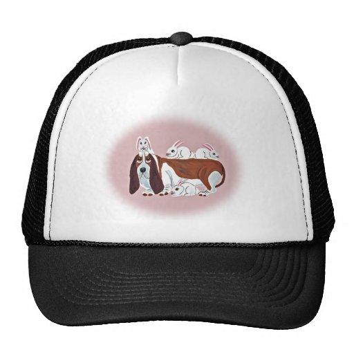Basset Hound With Bunny Friends Hat
