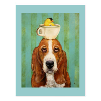Basset hound with goldfinch in teacup postcard