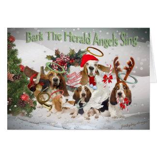 Basset Hound  Xmas Bark Herald Angels card