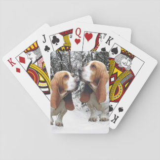 Basset Hounds in the Snowy Woods Playing Cards