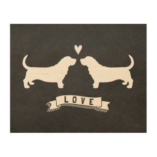 Basset Hounds Love - Dog Silhouettes w/ Heart Wood Canvas