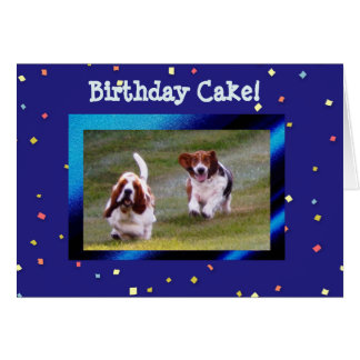 Basset Hounds on Funny Birthday Card w/Cake