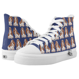 Basset Hounds Pattern Navy and Brown Shoes Printed Shoes
