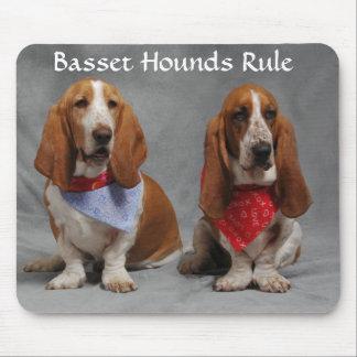 Basset Hounds Rule Wearing Bandanas Mousepad