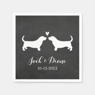 Basset Hounds Wedding Couple with Custom Text Disposable Serviette
