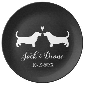 Basset Hounds Wedding Couple with Custom Text Plate
