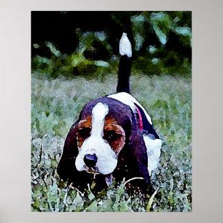 Basset Puppy Walking - Black Brown White Poster