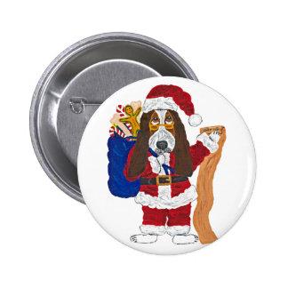Basset Santa Checking List Of Good Bassets Button