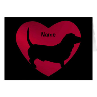 Basset Silhouette in Red Heart Card
