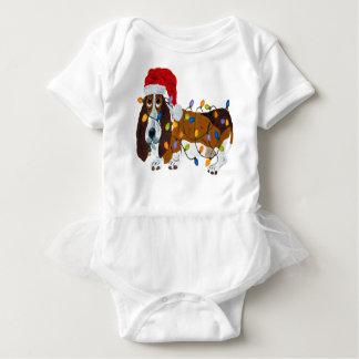 Basset Tangled In Christmas Lights Baby Bodysuit
