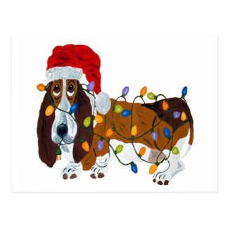 Basset Tangled In Christmas Lights Postcard