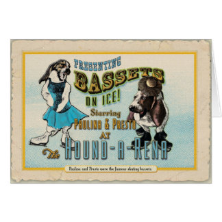 Bassets-on-ice greeting Card