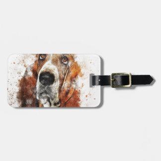 Bassett hound luggage tag