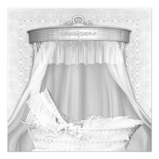 Bassinet Elegant Pure White Baby Shower Invitation