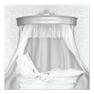 Bassinet Elegant Pure White Baby Shower Invitation