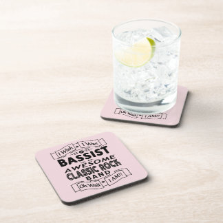 BASSIST awesome classic rock band (blk) Coaster